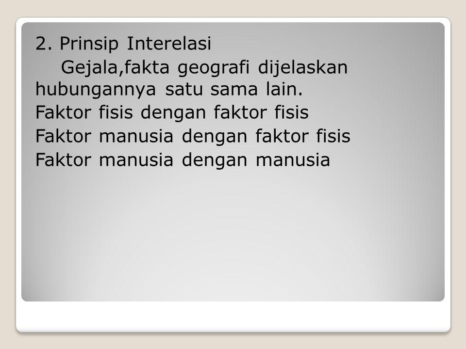 2. Prinsip Interelasi Gejala,fakta geografi dijelaskan hubungannya satu sama lain. Faktor fisis dengan faktor fisis Faktor manusia dengan faktor fisis