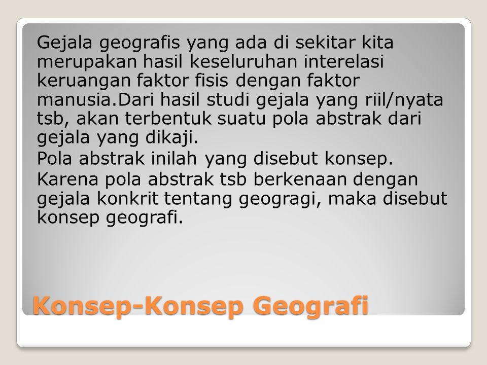 Konsep-Konsep Geografi Gejala geografis yang ada di sekitar kita merupakan hasil keseluruhan interelasi keruangan faktor fisis dengan faktor manusia.D