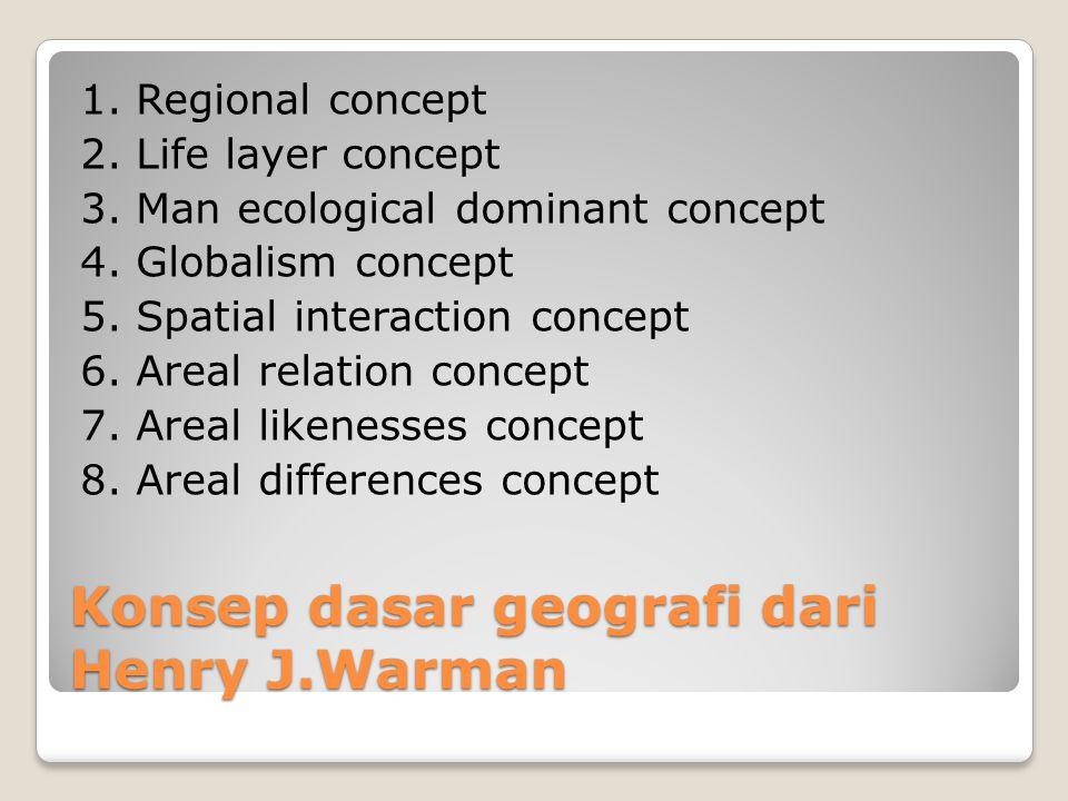 Konsep dasar geografi dari Henry J.Warman 1. Regional concept 2. Life layer concept 3. Man ecological dominant concept 4. Globalism concept 5. Spatial
