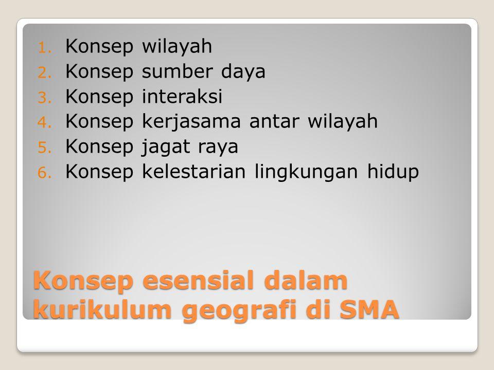 Konsep esensial dalam kurikulum geografi di SMA 1. Konsep wilayah 2. Konsep sumber daya 3. Konsep interaksi 4. Konsep kerjasama antar wilayah 5. Konse