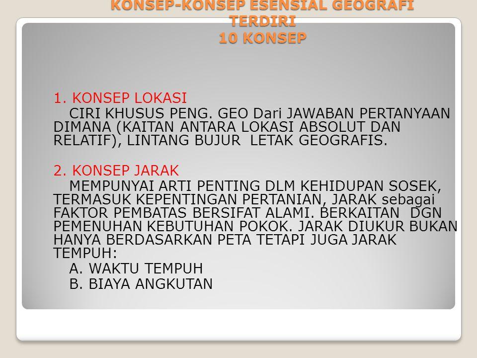 KONSEP-KONSEP ESENSIAL GEOGRAFI TERDIRI 10 KONSEP 1. KONSEP LOKASI CIRI KHUSUS PENG. GEO Dari JAWABAN PERTANYAAN DIMANA (KAITAN ANTARA LOKASI ABSOLUT