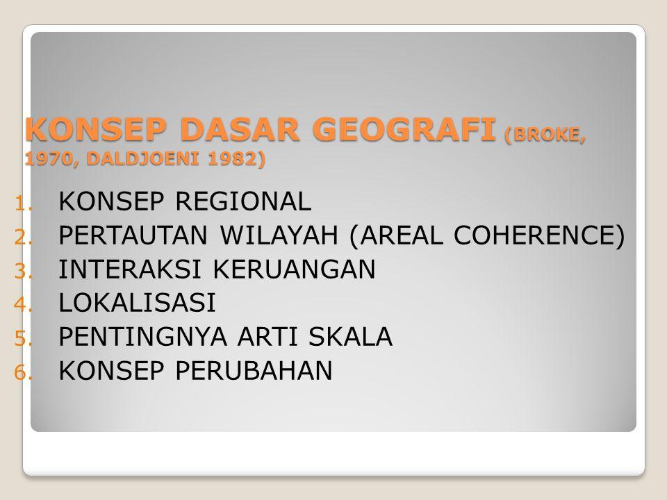 KONSEP DASAR GEOGRAFI (BROKE, 1970, DALDJOENI 1982) 1. KONSEP REGIONAL 2. PERTAUTAN WILAYAH (AREAL COHERENCE) 3. INTERAKSI KERUANGAN 4. LOKALISASI 5.