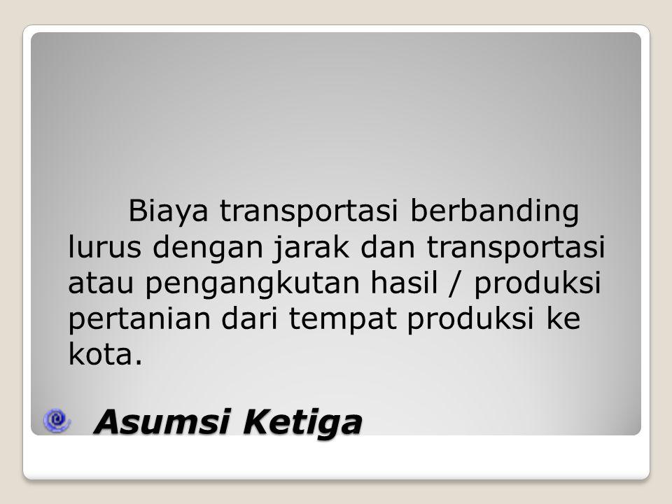 Asumsi Ketiga Asumsi Ketiga Biaya transportasi berbanding lurus dengan jarak dan transportasi atau pengangkutan hasil / produksi pertanian dari tempat