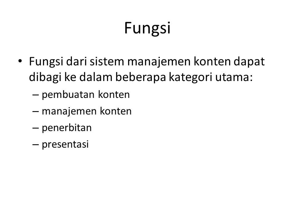 Fungsi Fungsi dari sistem manajemen konten dapat dibagi ke dalam beberapa kategori utama: – pembuatan konten – manajemen konten – penerbitan – presentasi