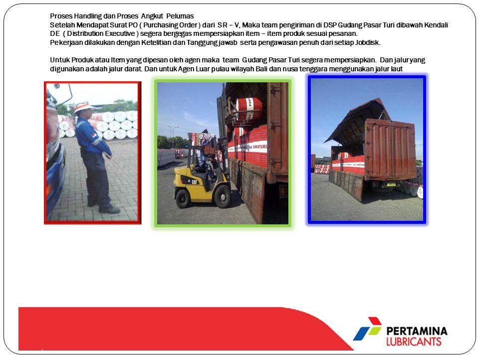 Proses Handling dan Proses Angkut Pelumas Setelah Mendapat Surat PO ( Purchasing Order ) dari SR – V, Maka team pengiriman di DSP Gudang Pasar Turi di