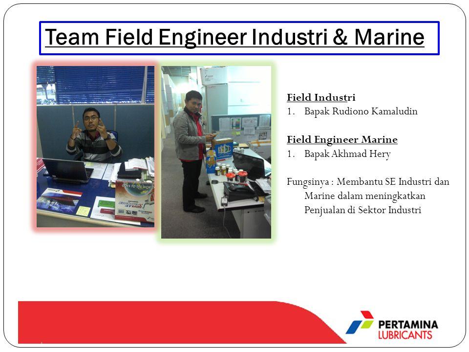 Team Field Engineer Industri & Marine Field Industri 1.Bapak Rudiono Kamaludin Field Engineer Marine 1.Bapak Akhmad Hery Fungsinya : Membantu SE Industri dan Marine dalam meningkatkan Penjualan di Sektor Industri