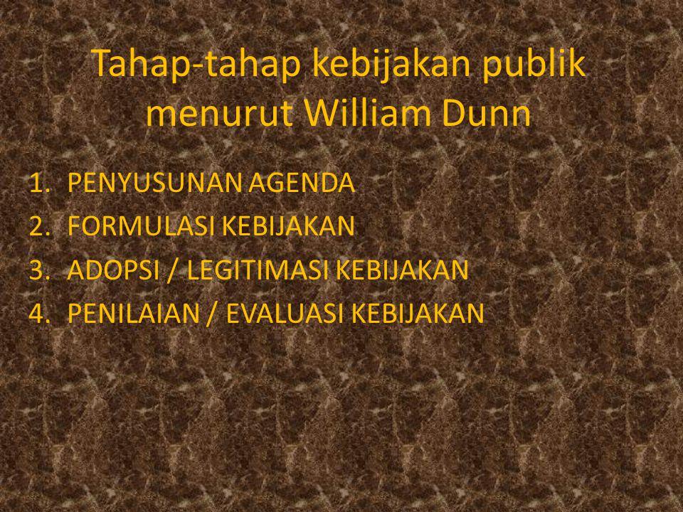 Tahap-tahap kebijakan publik menurut William Dunn 1.PENYUSUNAN AGENDA 2.FORMULASI KEBIJAKAN 3.ADOPSI / LEGITIMASI KEBIJAKAN 4.PENILAIAN / EVALUASI KEB
