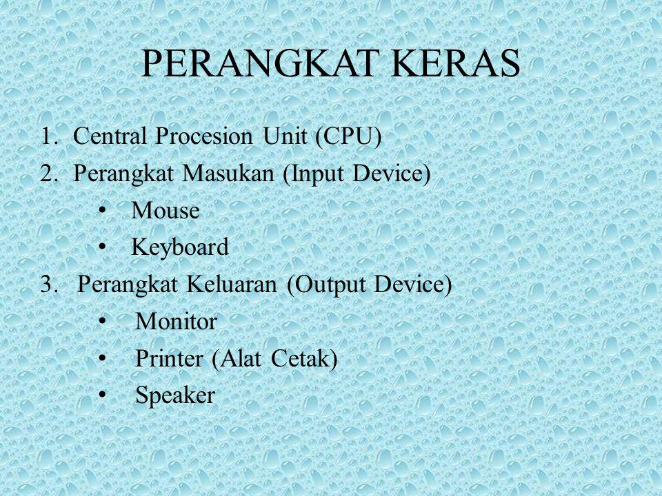 PERANGKAT KERAS 1.Central Procesion Unit (CPU) 2.Perangkat Masukan (Input Device) Mouse Keyboard 3.Perangkat Keluaran (Output Device) Monitor Printer (Alat Cetak) Speaker