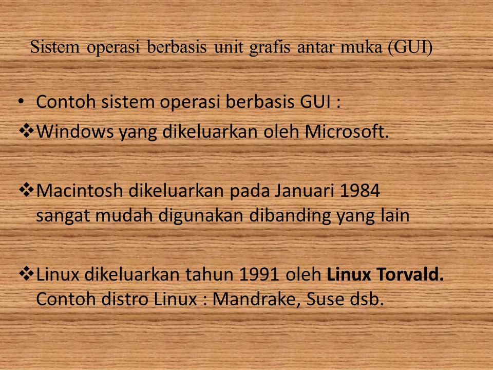 Sistem operasi berbasis unit grafis antar muka (GUI) Contoh sistem operasi berbasis GUI :  Windows yang dikeluarkan oleh Microsoft.
