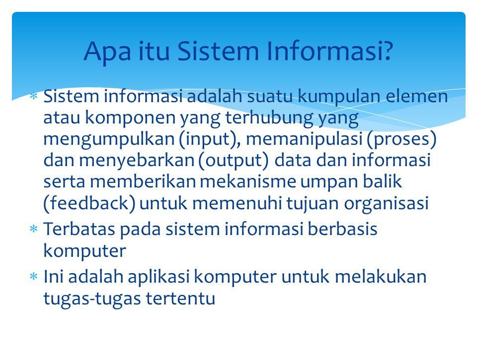  Sistem informasi adalah suatu kumpulan elemen atau komponen yang terhubung yang mengumpulkan (input), memanipulasi (proses) dan menyebarkan (output)