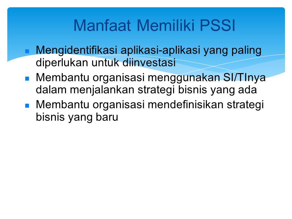 Manfaat Memiliki PSSI Mengidentifikasi aplikasi-aplikasi yang paling diperlukan untuk diinvestasi Membantu organisasi menggunakan SI/TInya dalam menja