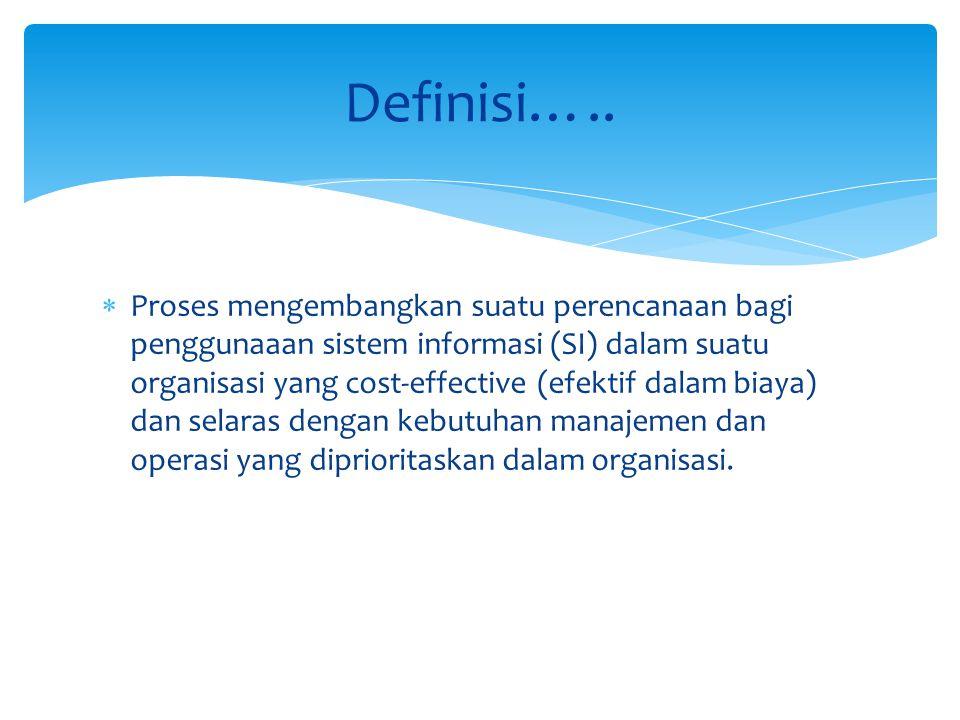  Proses mengembangkan suatu perencanaan bagi penggunaaan sistem informasi (SI) dalam suatu organisasi yang cost-effective (efektif dalam biaya) dan s