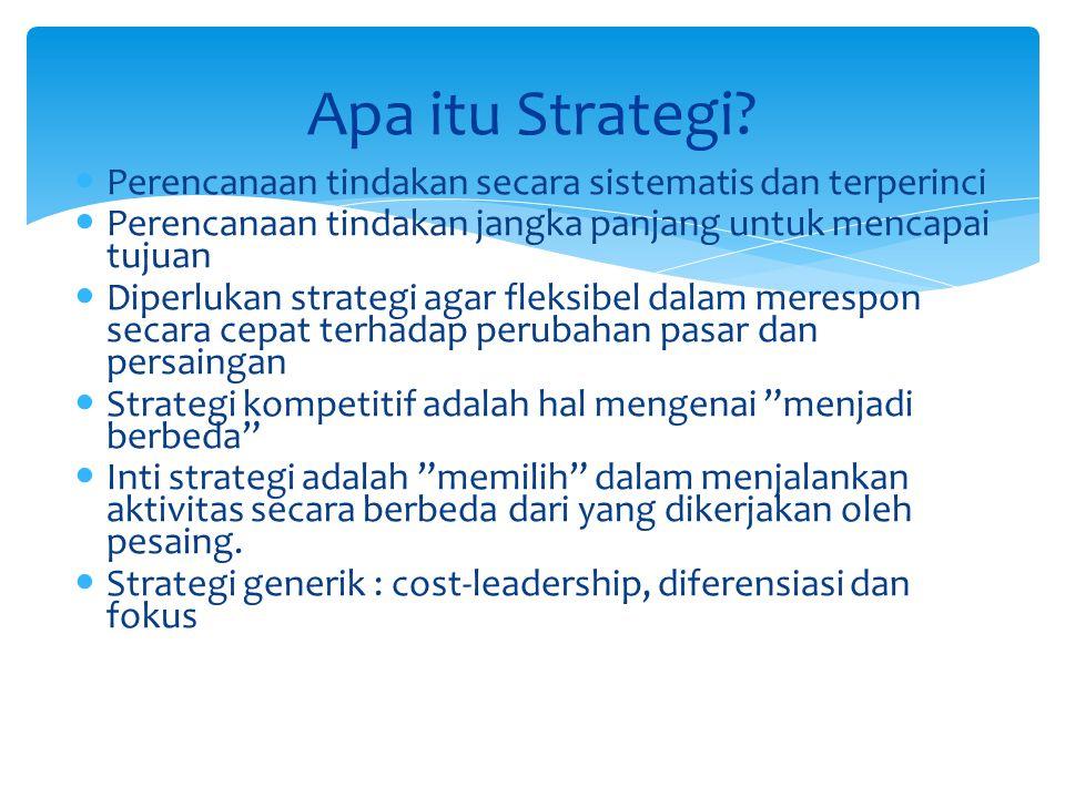Perencanaan tindakan secara sistematis dan terperinci Perencanaan tindakan jangka panjang untuk mencapai tujuan Diperlukan strategi agar fleksibel dal