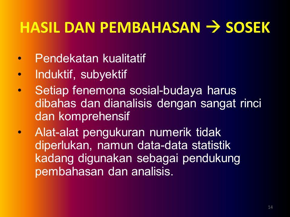 14 HASIL DAN PEMBAHASAN  SOSEK Pendekatan kualitatif Induktif, subyektif Setiap fenemona sosial-budaya harus dibahas dan dianalisis dengan sangat rin