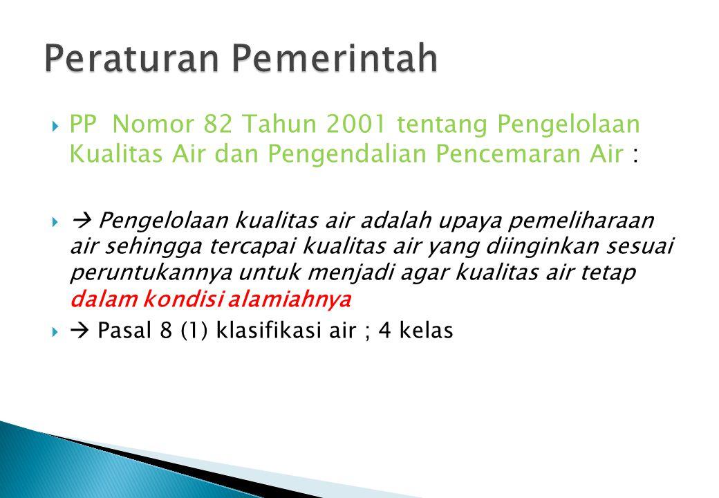  PP Nomor 82 Tahun 2001 tentang Pengelolaan Kualitas Air dan Pengendalian Pencemaran Air :   Pengelolaan kualitas air adalah upaya pemeliharaan air