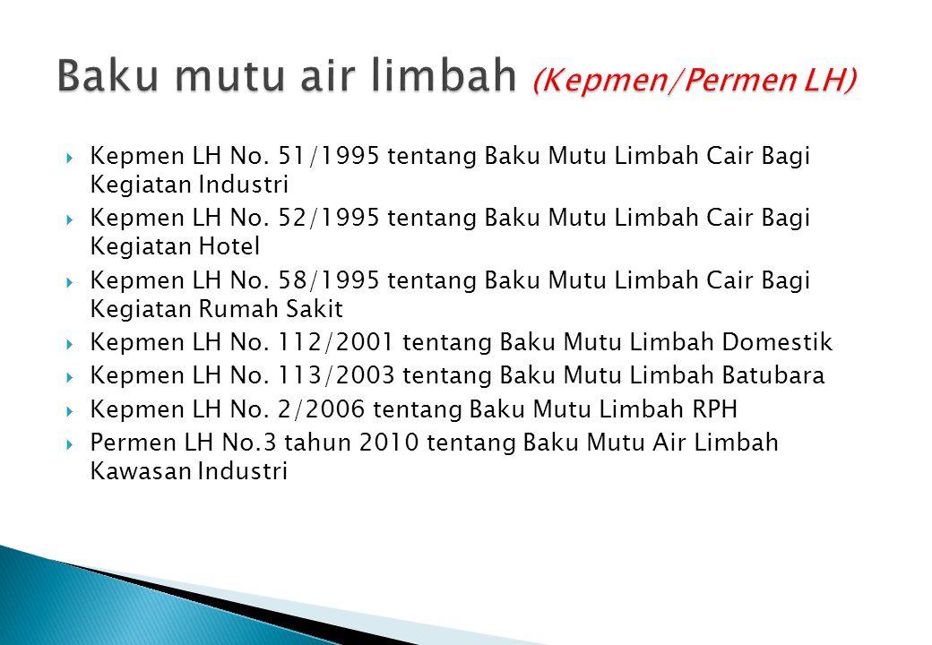  Kepmen LH No. 51/1995 tentang Baku Mutu Limbah Cair Bagi Kegiatan Industri  Kepmen LH No. 52/1995 tentang Baku Mutu Limbah Cair Bagi Kegiatan Hotel