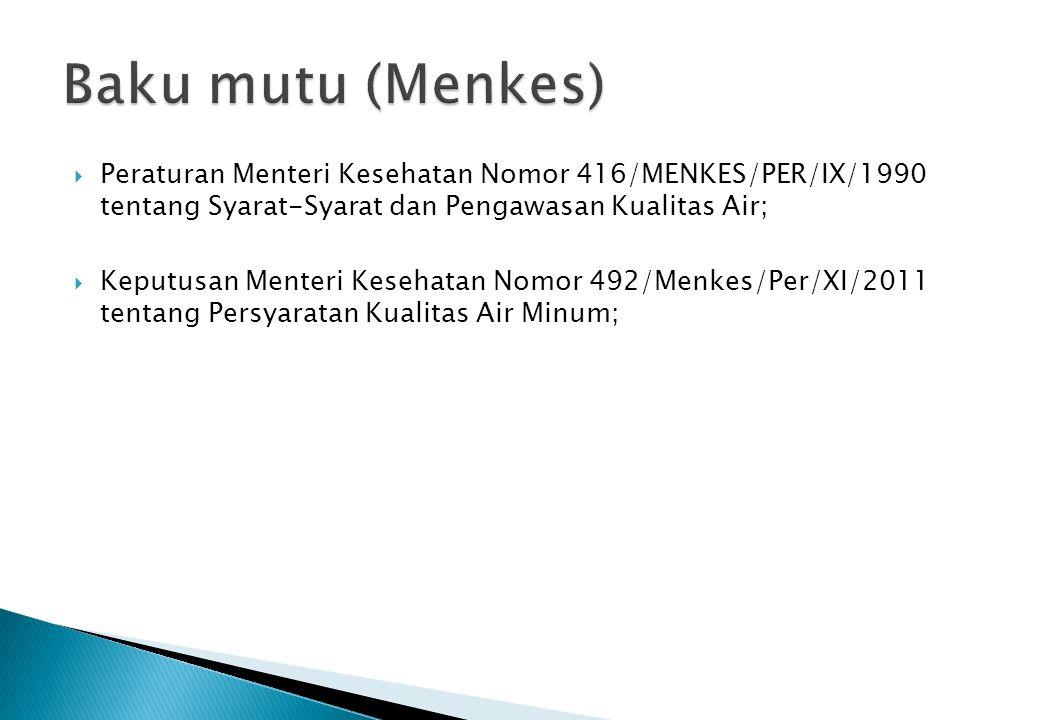  Peraturan Menteri Kesehatan Nomor 416/MENKES/PER/IX/1990 tentang Syarat-Syarat dan Pengawasan Kualitas Air;  Keputusan Menteri Kesehatan Nomor 492