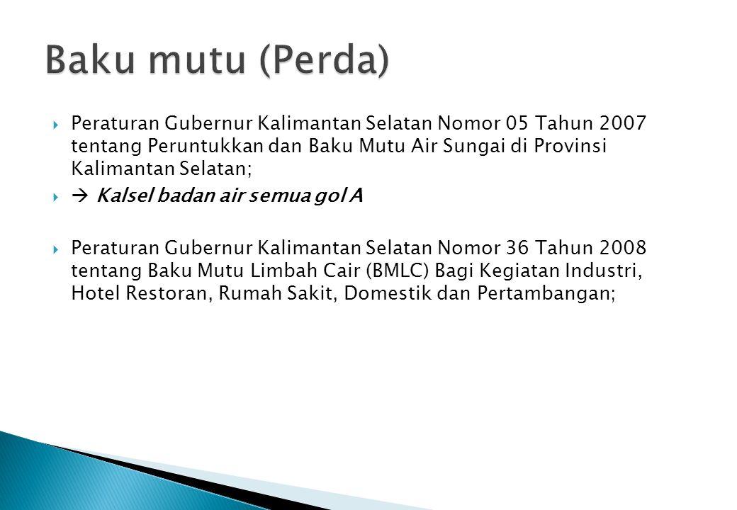  Peraturan Gubernur Kalimantan Selatan Nomor 05 Tahun 2007 tentang Peruntukkan dan Baku Mutu Air Sungai di Provinsi Kalimantan Selatan;   Kalsel ba