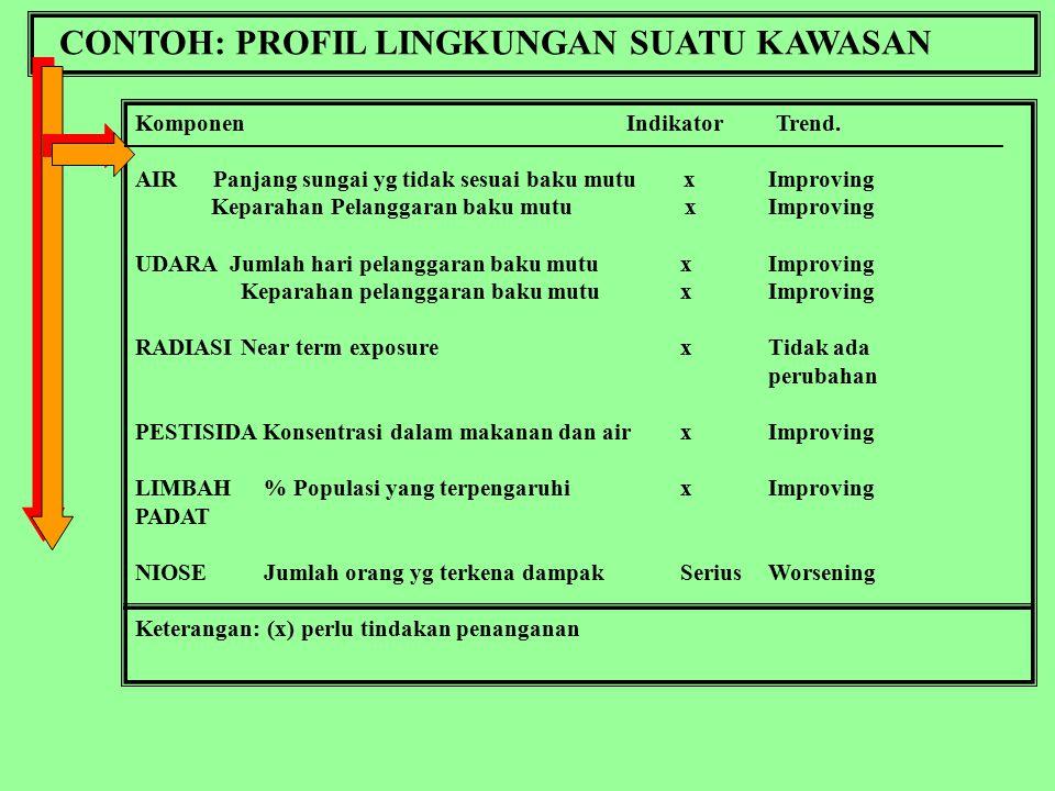 PROFIL KUALITAS LINGKUNGAN Contoh: PROFIL KUALITAS UDARA PERKOTAAN PROFIL KUALITAS HUTAN PROFIL KUALITAS LAHAN SAWAH PROFIL KUALITAS LINGKUNGAN PEMUKIMAN PANTAI PROFIL KUALITAS SUNGAI Dll.