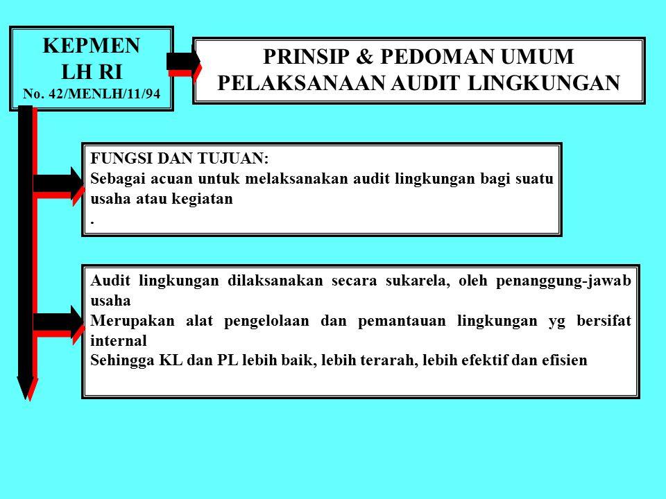 KEPMEN LH RI No. 42/MENLH/11/94 PEDOMAN UMUM PELAKSANAAN AUDIT LINGKUNGAN Setiap bidang usaha atau kegiatan wajib memelihara kelestarian kemampuan lin