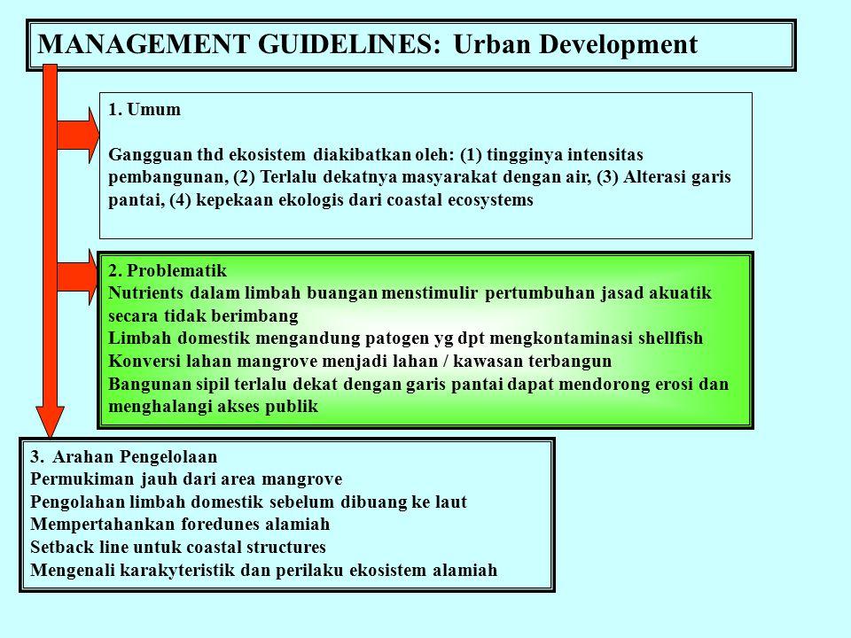 MANAGEMENT GUIDELINES: Mangrove Forestry 1. Umum Hasil-hasil ekologis dari ekosistem mangrove biasanya under-valued, sehingga sering dikonversi menjad