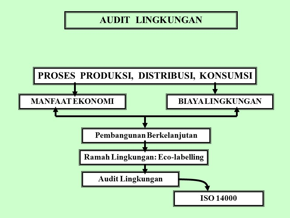 AUDIT LINGKUNGAN PROSES PRODUKSI, DISTRIBUSI, KONSUMSI MANFAAT EKONOMI BIAYA LINGKUNGAN Pembangunan Berkelanjutan Ramah Lingkungan: Eco-labelling Audit Lingkungan ISO 14000