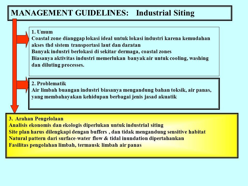 MANAGEMENT GUIDELINES: Urban Development 1. Umum Gangguan thd ekosistem diakibatkan oleh: (1) tingginya intensitas pembangunan, (2) Terlalu dekatnya m