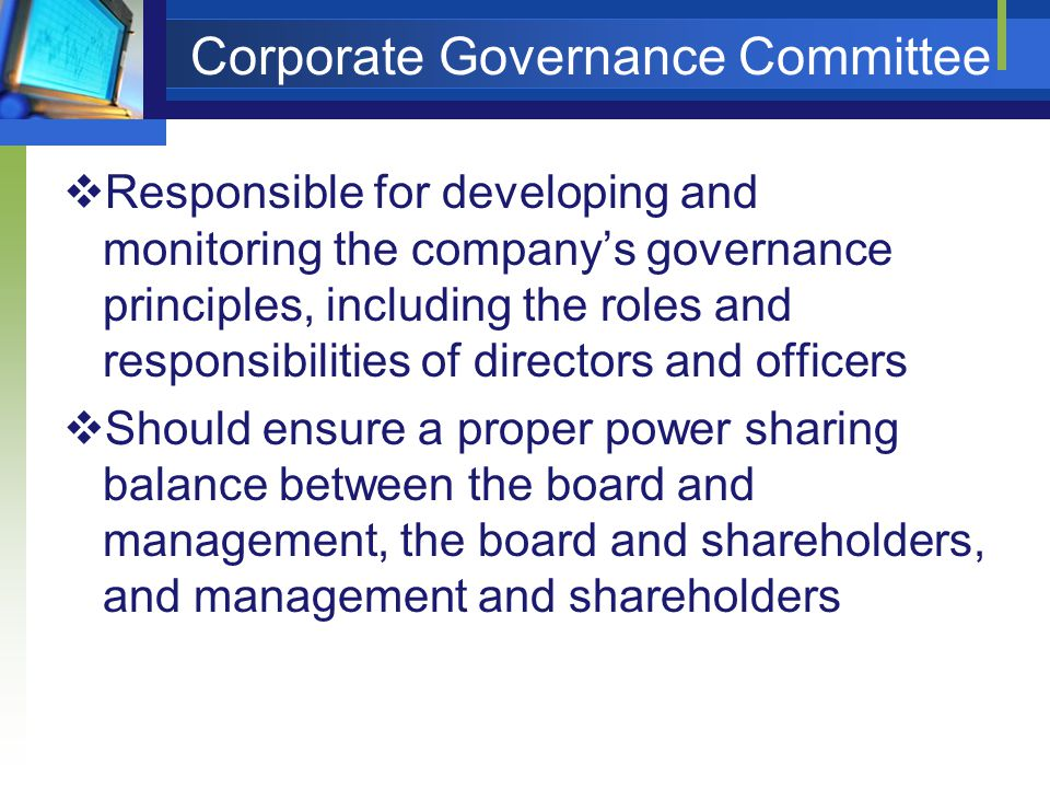 Corporate Governance Committee  Responsible for developing and monitoring the company's governance principles, including the roles and responsibilities of directors and officers  Should ensure a proper power sharing balance between the board and management, the board and shareholders, and management and shareholders