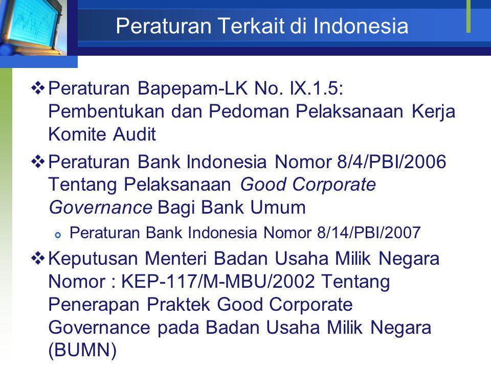 Peraturan Terkait di Indonesia  Peraturan Bapepam-LK No.