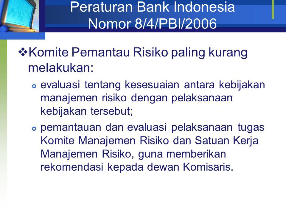 Peraturan Bank Indonesia Nomor 8/4/PBI/2006  Komite Pemantau Risiko paling kurang melakukan:  evaluasi tentang kesesuaian antara kebijakan manajemen risiko dengan pelaksanaan kebijakan tersebut;  pemantauan dan evaluasi pelaksanaan tugas Komite Manajemen Risiko dan Satuan Kerja Manajemen Risiko, guna memberikan rekomendasi kepada dewan Komisaris.