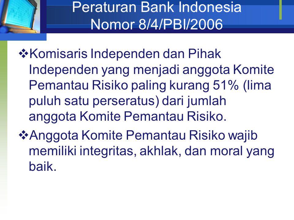 Peraturan Bank Indonesia Nomor 8/4/PBI/2006  Komisaris Independen dan Pihak Independen yang menjadi anggota Komite Pemantau Risiko paling kurang 51% (lima puluh satu perseratus) dari jumlah anggota Komite Pemantau Risiko.