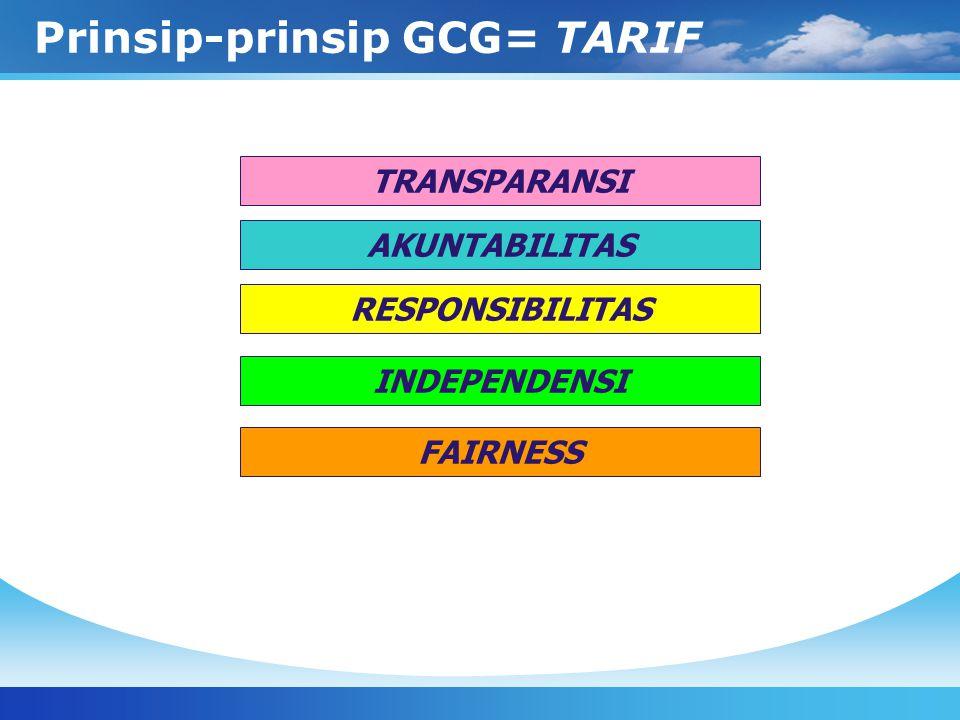 Prinsip-prinsip GCG= TARIF TRANSPARANSI AKUNTABILITAS RESPONSIBILITAS INDEPENDENSI FAIRNESS