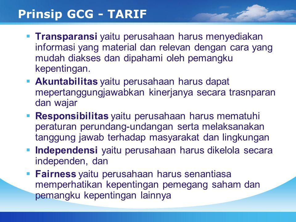 Prinsip GCG - TARIF  Transparansi yaitu perusahaan harus menyediakan informasi yang material dan relevan dengan cara yang mudah diakses dan dipahami