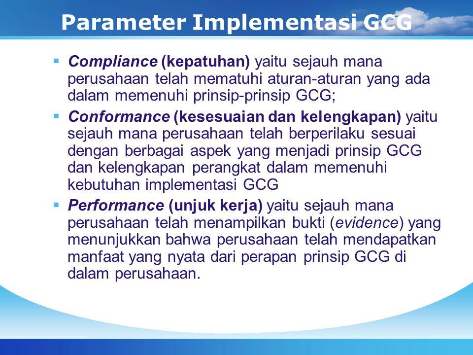 Parameter Implementasi GCG  Compliance (kepatuhan) yaitu sejauh mana perusahaan telah mematuhi aturan-aturan yang ada dalam memenuhi prinsip-prinsip