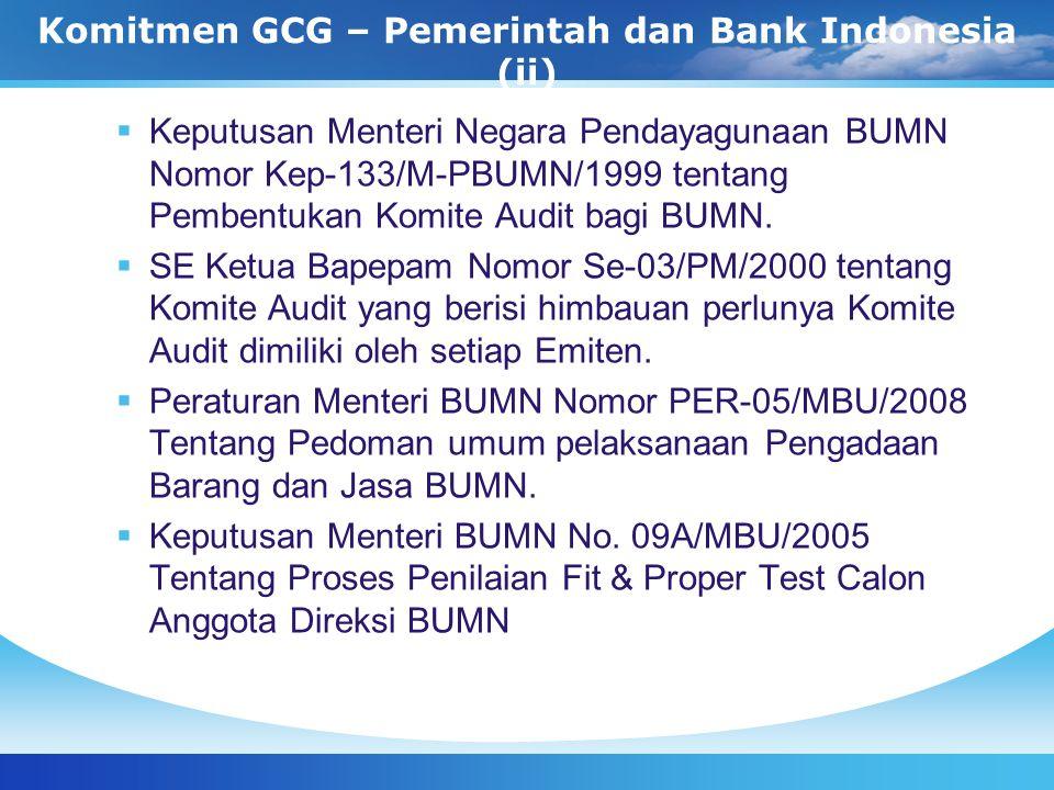 Komitmen GCG – Pemerintah dan Bank Indonesia (ii)  Keputusan Menteri Negara Pendayagunaan BUMN Nomor Kep-133/M-PBUMN/1999 tentang Pembentukan Komite