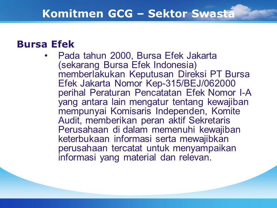 Komitmen GCG – Sektor Swasta Bursa Efek Pada tahun 2000, Bursa Efek Jakarta (sekarang Bursa Efek Indonesia) memberlakukan Keputusan Direksi PT Bursa E