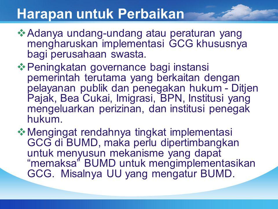 Harapan untuk Perbaikan  Adanya undang-undang atau peraturan yang mengharuskan implementasi GCG khususnya bagi perusahaan swasta.  Peningkatan gover