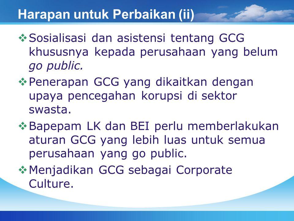 Harapan untuk Perbaikan (ii)  Sosialisasi dan asistensi tentang GCG khususnya kepada perusahaan yang belum go public.  Penerapan GCG yang dikaitkan