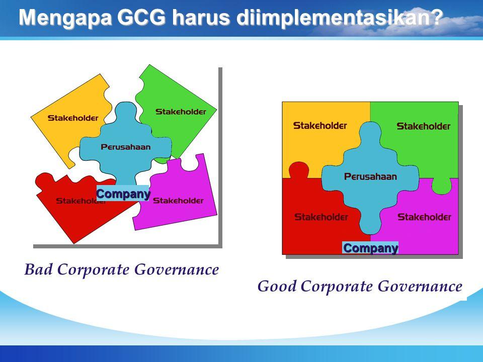 Mengapa Good Corporate Governance diperlukan.