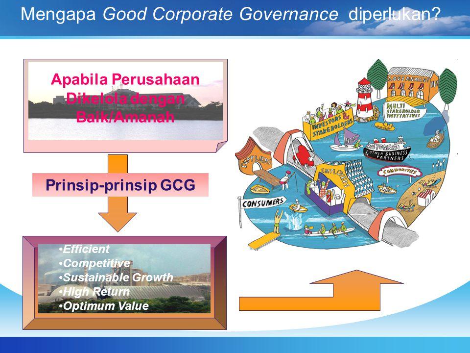 Mengapa Good Corporate Governance diperlukan? Apabila Perusahaan Dikelola dengan Baik/Amanah Efficient Competitive Sustainable Growth High Return Opti