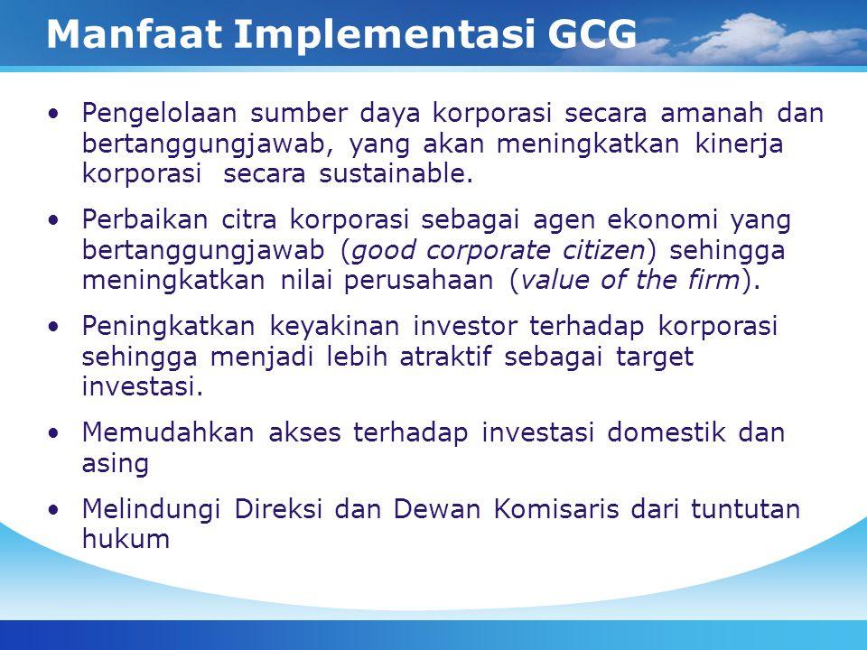 Komitmen GCG – Sektor Swasta Bursa Efek Pada tahun 2000, Bursa Efek Jakarta (sekarang Bursa Efek Indonesia) memberlakukan Keputusan Direksi PT Bursa Efek Jakarta Nomor Kep-315/BEJ/062000 perihal Peraturan Pencatatan Efek Nomor I-A yang antara lain mengatur tentang kewajiban mempunyai Komisaris Independen, Komite Audit, memberikan peran aktif Sekretaris Perusahaan di dalam memenuhi kewajiban keterbukaan informasi serta mewajibkan perusahaan tercatat untuk menyampaikan informasi yang material dan relevan.