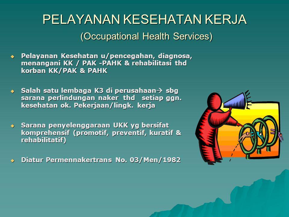 8. PENELITIAN EPIDEMIOLOGIS U/ MENGEVALUASI DAMPAK LINGK. KERJA 9. EVALUASI BERKALA EFEKTIFITAS PROG. KESEHATAN KERJA YG TELAH DILAKUKAN 10. USAHA-2 L