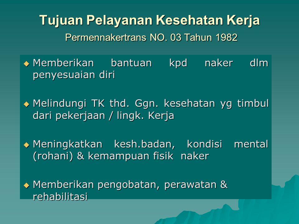 PELAYANAN KESEHATAN KERJA (Occupational Health Services)  Pelayanan Kesehatan u/pencegahan, diagnosa, menangani KK / PAK -PAHK & rehabilitasi thd kor