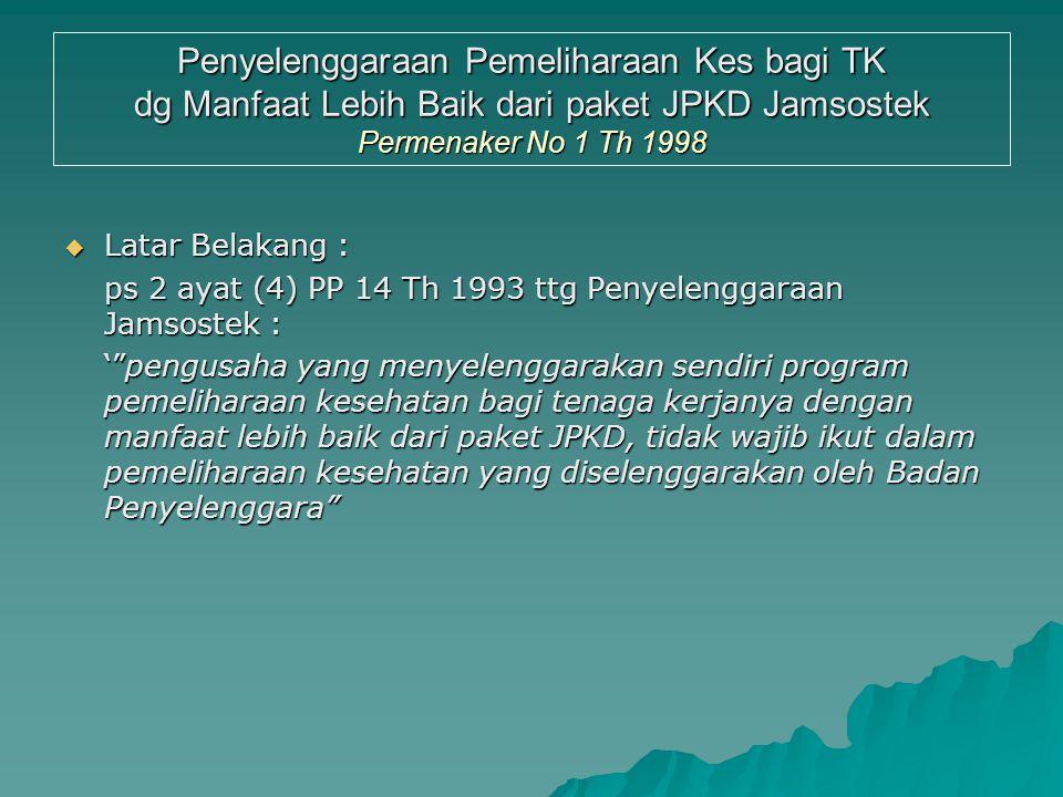 Kaitan PKK dg JPK-D Jamsostek  Perusahaan BOLEH tdk ikut program JPK Jamsostek, bila sdh. memberikan PKK yg > baik dr prog. JPK Dasar Jamsostek (Perm