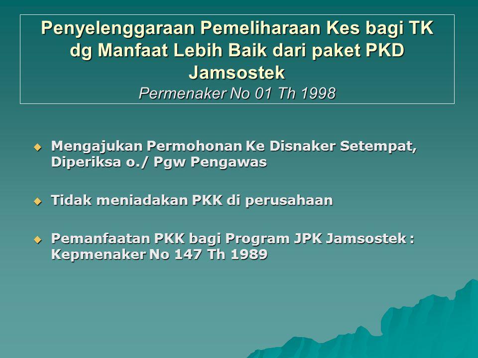 Penyelenggaraan Pemeliharaan Kes bagi TK dg Manfaat Lebih Baik dari paket JPKD Jamsostek Permenaker No 1 Th 1998  Latar Belakang : ps 2 ayat (4) PP 1