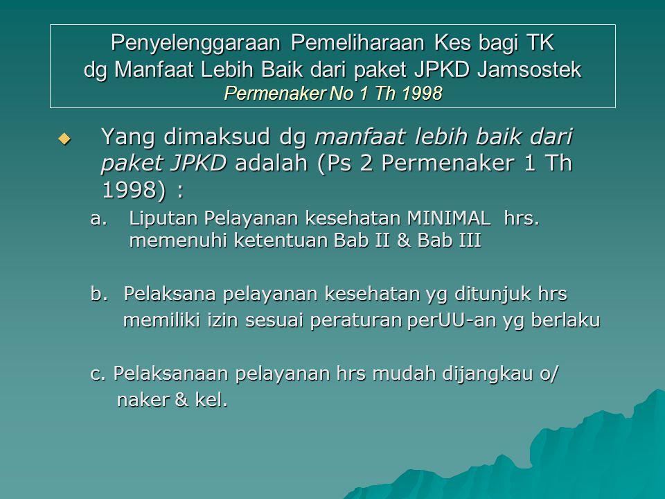Penyelenggaraan Pemeliharaan Kes bagi TK dg Manfaat Lebih Baik dari paket PKD Jamsostek Permenaker No 01 Th 1998  Mengajukan Permohonan Ke Disnaker S