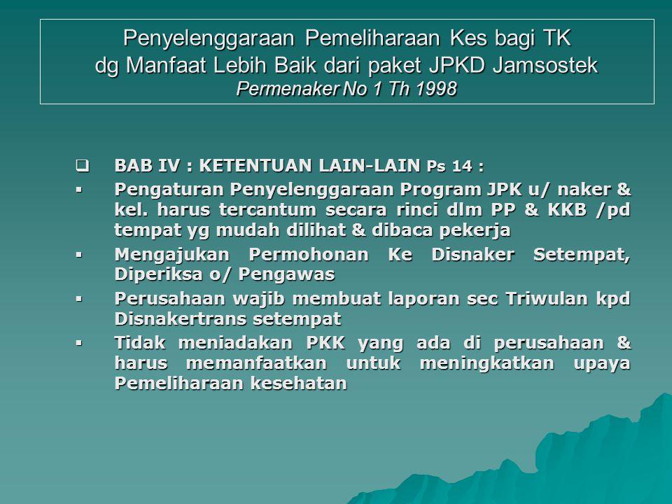 Penyelenggaraan Pemeliharaan Kes bagi TK dg Manfaat Lebih Baik dari paket JPKD Jamsostek Permenaker No 1 Th 1998  BAB III : PAKET PELAYANAN KESEHATAN