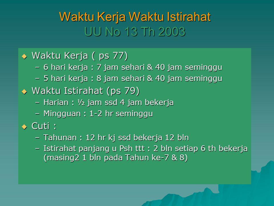 HAL-HAL TERKAIT KESEHATAN KERJA UU No 13 Th 2003  Waktu Kerja (ps 77) dan Waktu Istirahat (ps 79)  Jam Kerja Lebih ps 78  Istirahat Haid, Hamil & M