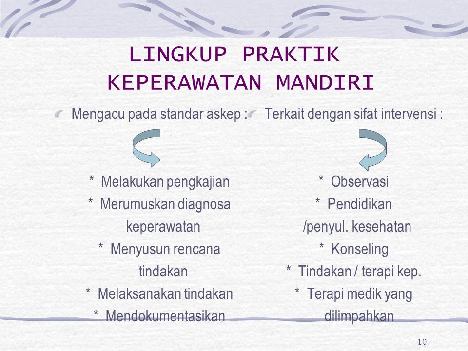 10 LINGKUP PRAKTIK KEPERAWATAN MANDIRI Mengacu pada standar askep : * Melakukan pengkajian * Merumuskan diagnosa keperawatan * Menyusun rencana tindak