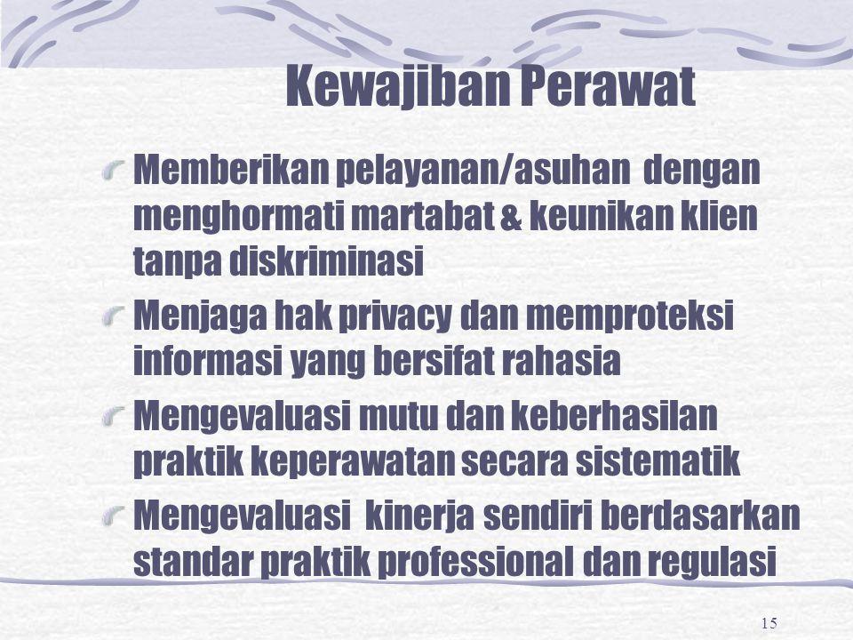 15 Kewajiban Perawat Memberikan pelayanan/asuhan dengan menghormati martabat & keunikan klien tanpa diskriminasi Menjaga hak privacy dan memproteksi i